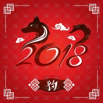 chinese-new-year-2018-greeting-card-year-of-yellow-dog-Download-Royalty-free-Vector-File-EPS-350605